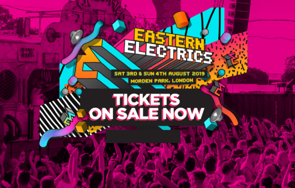 Banner advertising the Eastern Electrics festival in Morden