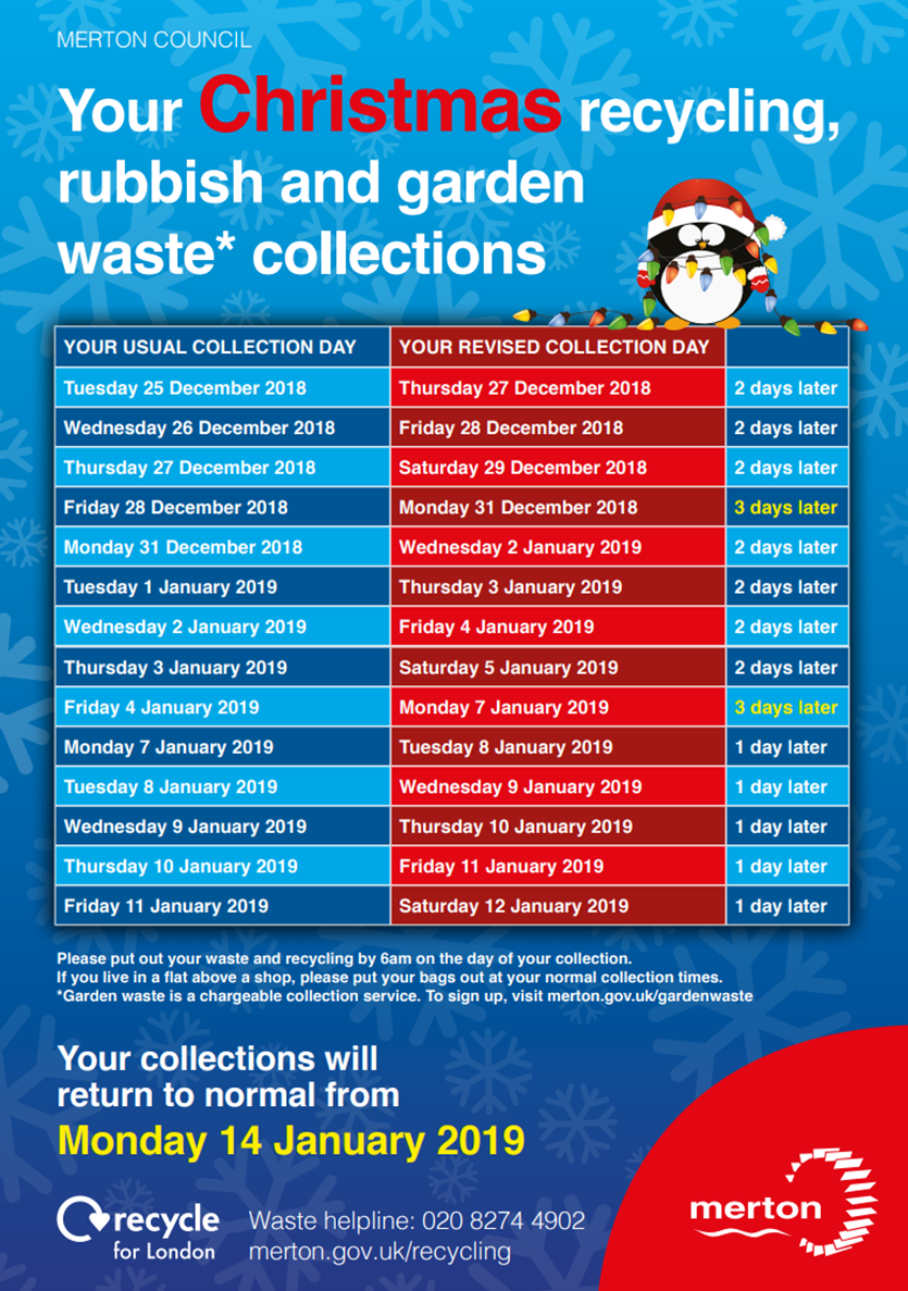 Psoter with list of Dates fro Merton Council recycling collections 2018