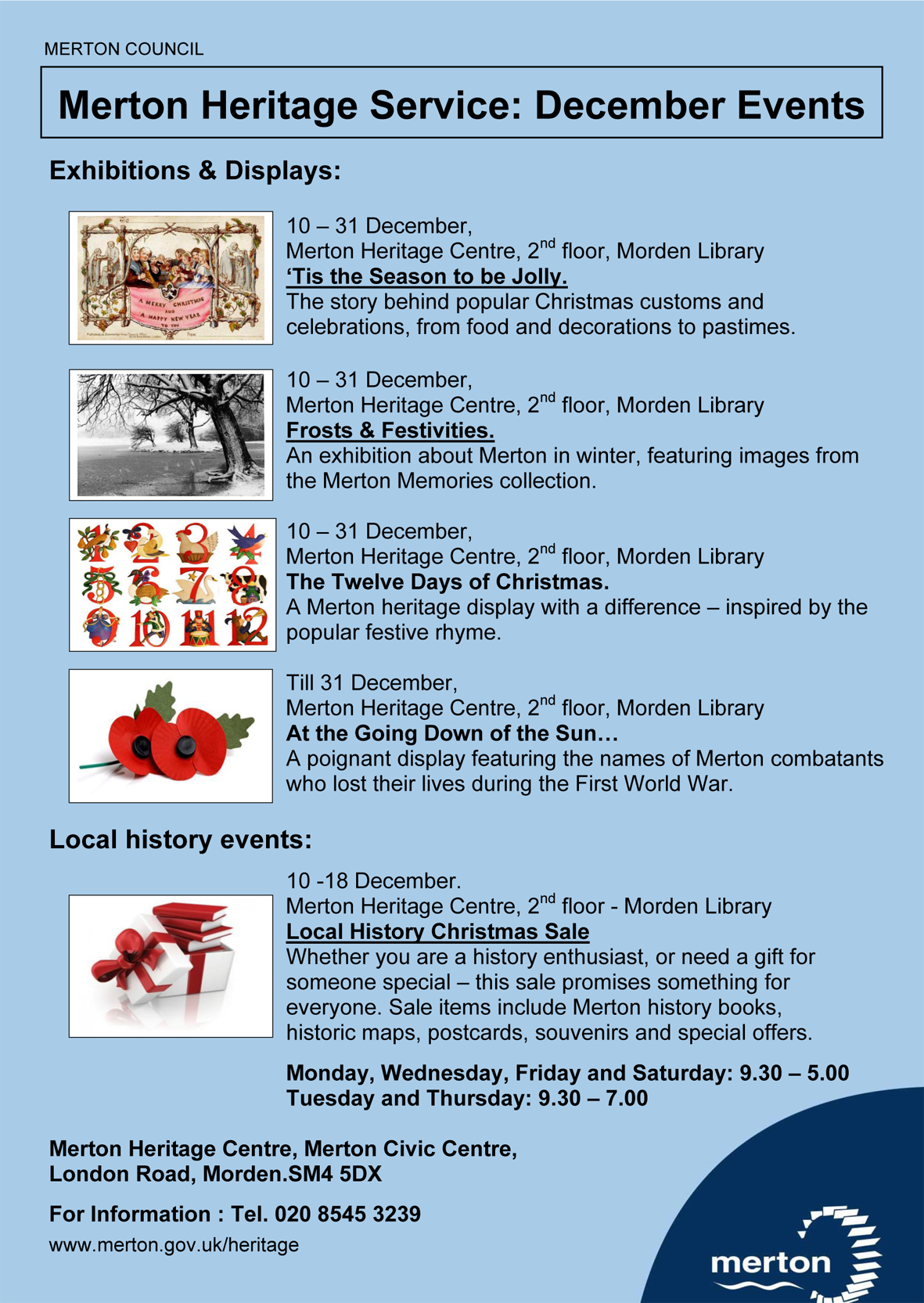 Merton Heritage Events Dec 2018 Poster