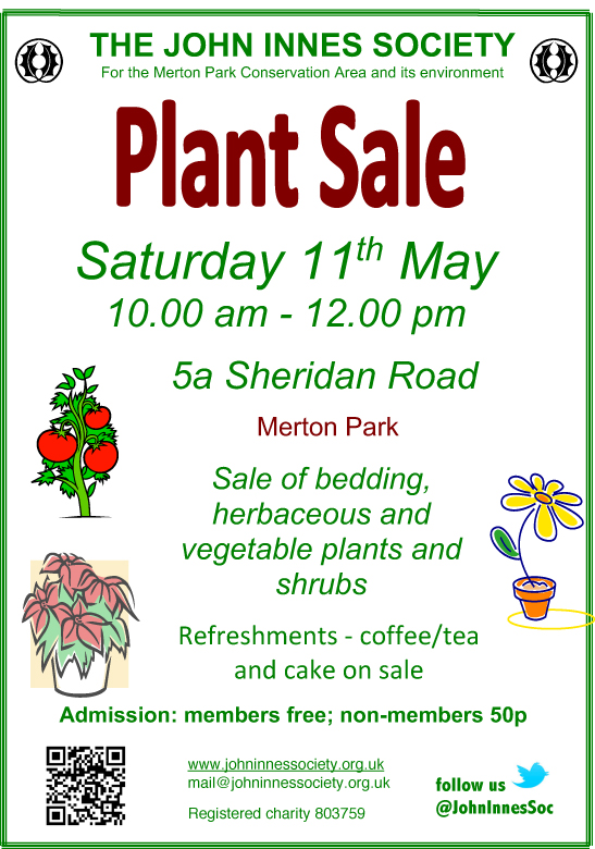 Poster for John Innes Society Plant Sale 11th May 2019