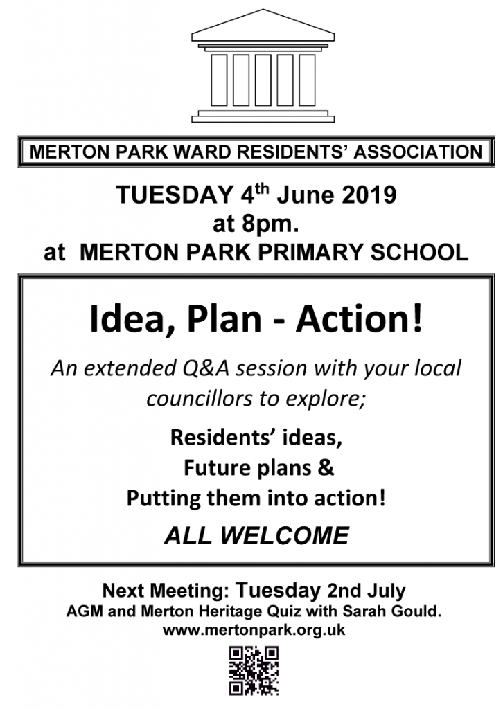 MPWRA  meeting poster 4th June 2019 8pm Merton Park Primary school