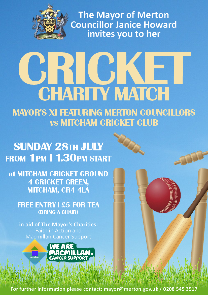 Mayor of Merton's Charity Cricket Match Poster