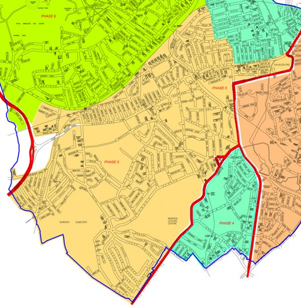 Merton Area Map of Phase 5 20mph limit