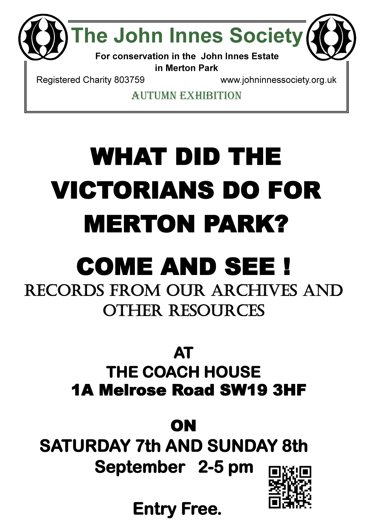 Victorians and Merton Park Exhibition Poster 2019