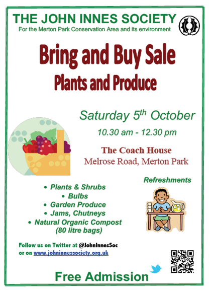 John Innes Society Plant Sale Poster October 2019
