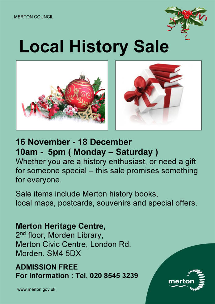 Poster for Merton Heritage Centre Local History Sale