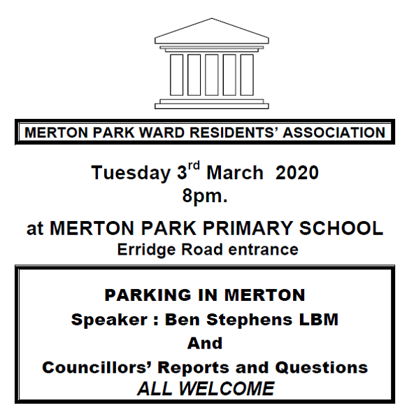 Merton Park Ward Meeting poster March 2020