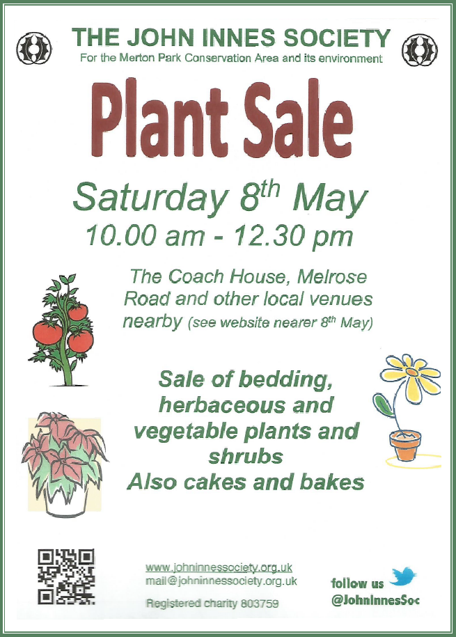 John Innes Society, Plant Sale, poster May 8th 2021 10:00 am - 12:30pm. The old coach house melrose road