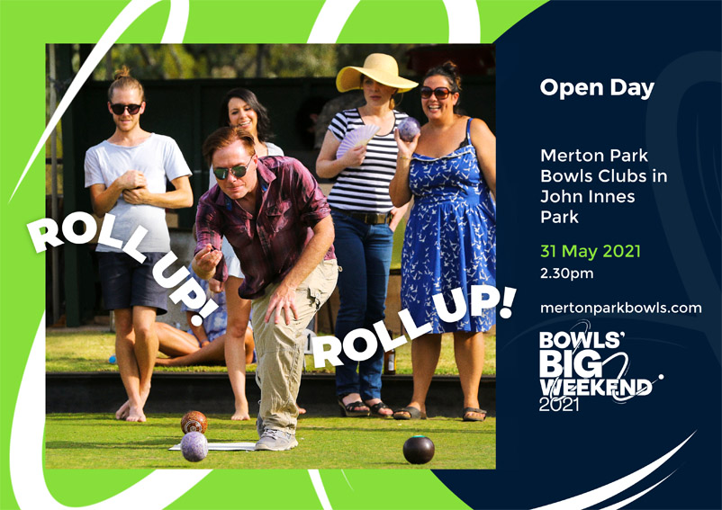 Merton Park Bowls Club open day poster