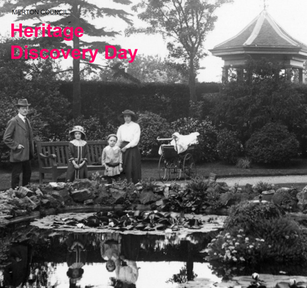 Image of people in the Victoria era standing in John Innes Park and used to promote Merton Heritage Day 2021